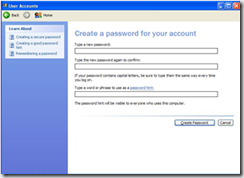 Create a password in Windows XP