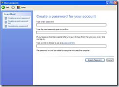 Create a password in Windows XP