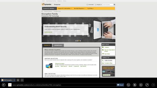 Figura 1 - Faqja e uebit të Symantec