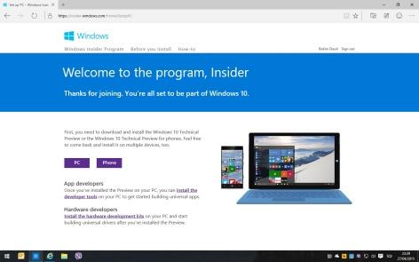 Figura 1. Windows Insider Program (Microsoft, 2015)
