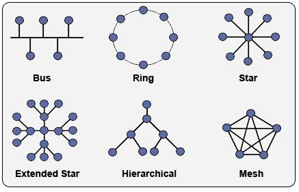Figura 1. Topologjitë fizike të rrjeteve kompjuterike (CCNA Study Guide, p.d.)