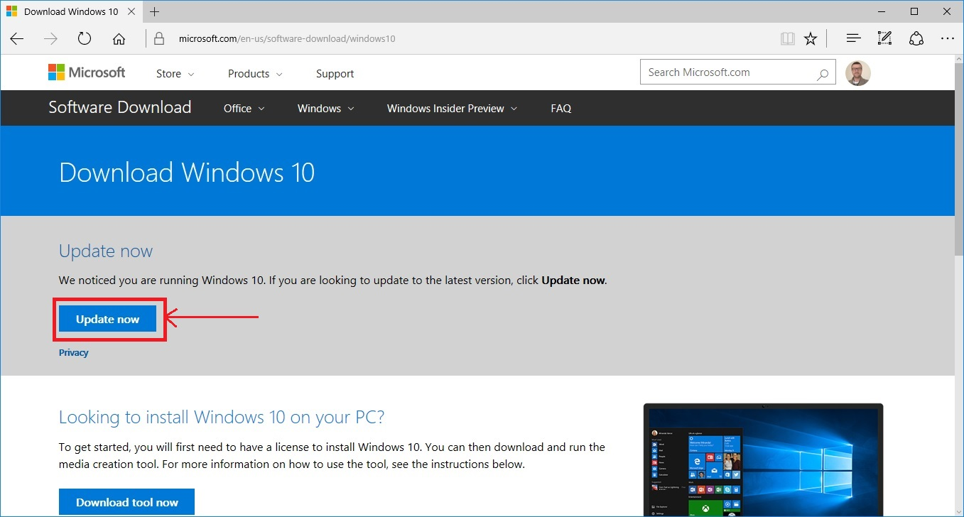 How to get windows 10 version 1703 build 15063 before for Latest windows version