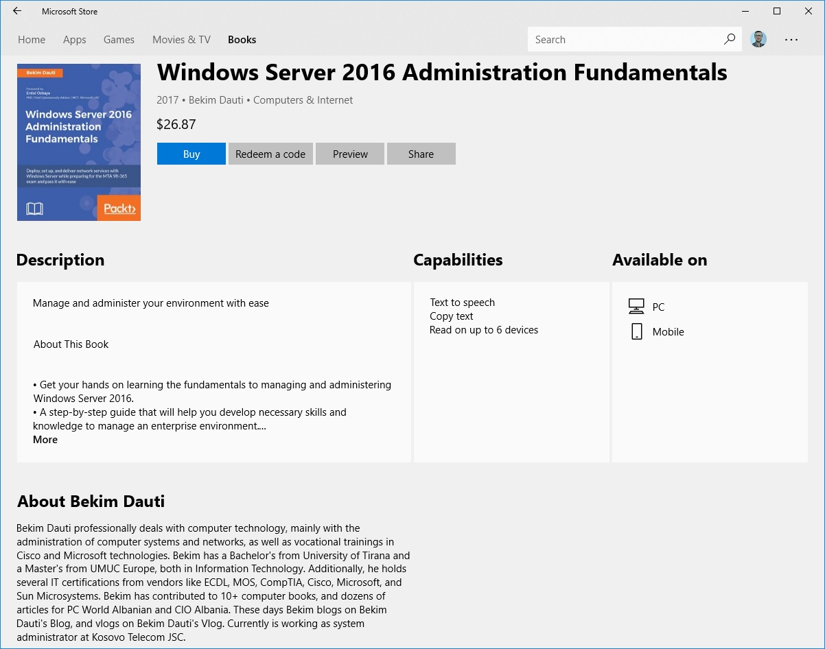 Windows Server 2016 Administration Fundamentals Book Is Available On